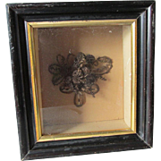c1870s Victorian Hair Wreath Bouquet in Shadowbox Frame