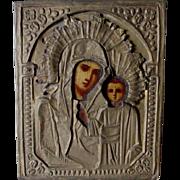 Antique Russian Icon, Madonna & Child