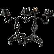 Pair Antique Art Nouveau Wrought Iron Candlesticks