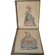 Pair Antique French Fashion Prints of Lovely Ladies