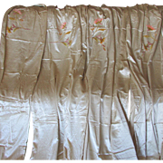SALE PENDING 4 Elegant c1920s Curtain, Drapery Panels Satin & Chenille  Embroidery