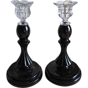 SOLD Pair Elegant c1920s Wood & Glass Candlesticks