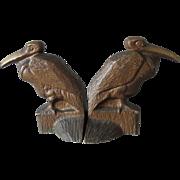 c1920s Art Deco Cast Iron Pelican Bird Bookends