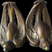 c1920-30s Art Deco Bird Bookends, Cast Iron