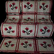 19thC Hand Sewn Applique Quilt Squares