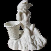 Antique Parian Porcelain Fox Figurine, Match safe