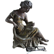Pretty 19thC Victorian Sculpture of a Lady Reading a Book