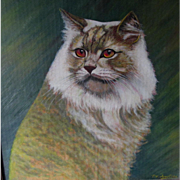 Lovely Vintage Oil Painting of a Cat, Signed