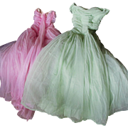 Two 1950s Tulle Strapless Party Dresses, Formal Evening