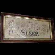 SOLD c1870s Victorian Motto Sampler He Giveth His Beloved Sleep