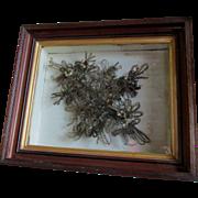 c1870s Victorian Hair Flower Bouquet, Shadowbox Frame
