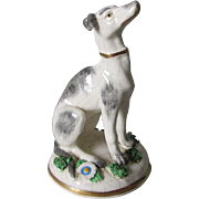 Antique Chelsea Soft Paste Dog Figurine, Gold Anchor