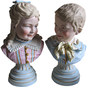 SOLD c1880s Victorian French or German Bisque Children Busts