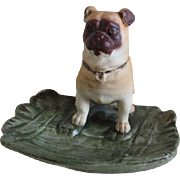 Antique Victorian Bisque Pug Dog Tray, Figurine