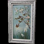 SALE PENDING c1880s Oil Painting Bluebirds & Cherry Blossom Folk Art