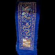 SALE PENDING c1910-20s Chinese Metallic Thread Silk Embroidery Panel
