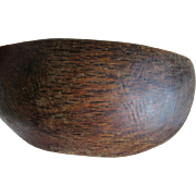 Antique Primitive Burl Wood Bowl with Iron Patch