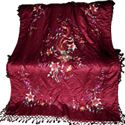 SALE PENDING Vintage Chinese Silk Embroidered Piano Shawl, Tablecloth