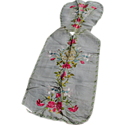 SALE PENDING French Silk Vestment with Roses & Lily Flowers