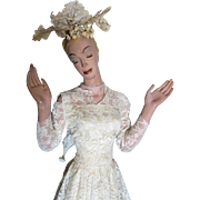 c1940s Counter Top Mannequin, Wedding Gown Display