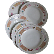 Antique French Limoges Soup Bowls with Butterflies