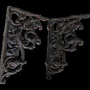 SOLD Pair Cast Iron Victorian Shelf Brackets, Bleeding Heart Flowers