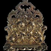Antique Victorian Gilt Desk Top Letter Holder