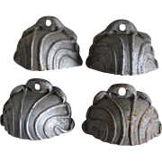 4 Big Antique Shell Shaped Handles, Wall Pockets, Garden