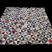 19thC  Calico & Flannel Quilt Top, Nice Fabrics