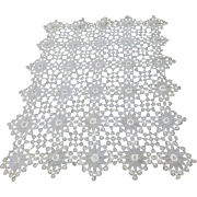 Antique Lace Tablecloth, Hand Crochet Floral Design