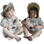 Pair Large Antique Piano Babies, Children with Puppy & Kitten