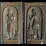 Pair Petite Bronze Plaques of Ladies, Architectural, Garden