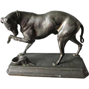 19thC Sculpture of a Greyhound Dog with Bandaged Leg