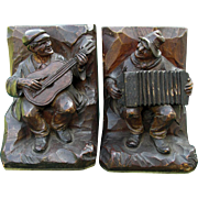 German Black Forest Hand Carved Wood Bookends