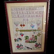 Sampler with House, Birds, Signed Mary Bauman, 1874