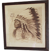 Red Face Sioux Indian Chief Print, Francis West