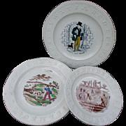 3  19thC Children's ABC Plates, Dog Seller, Cricket, Hunting