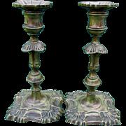 Pair Antique English Queen Anne Style Brass Candlesticks