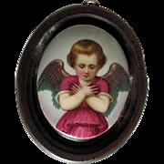 19thC Hand Painted Porcelain Miniature Cherub Angel Plaque