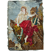 19thC Needlepoint, Petit Point Tapestry Lady with Harp