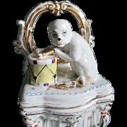 19thC Staffordshire Fairing Box Monkey Playing a Drum