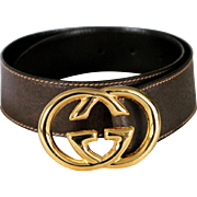 SALE Vintage Gucci Ladies Cross G Leather Belt from Italy