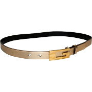 """SALE Vintage Gucci """"G"""" Golden Leather Belt from Italy"""