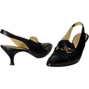 SALE Gucci Horse-bit Slingback Pumps US 8B 38.5 from Italy