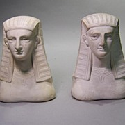 Pair Plaster Egyptian Busts