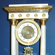 French Empire or Portico Bronze Gilt & Marble Clock ca. 1870