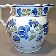 19th c. Soft Paste Pearlware Pitcher with Floral Pattern