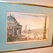 "18th c. Roman Print ""Rome in it's Original Splendor"" Handcolored"