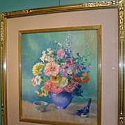 Dorothy P. Neaves Still Life Pastel Painting with Mixed Flowers