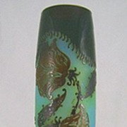 SOLD Lesage France Cameo Art Glass Vase with Flowers c. 1930